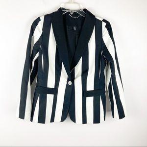Chico's Black Label Black & White Stripe Blazer S